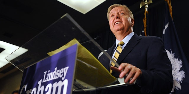 June 10, 2014: Sen. Lindsey Graham, R-S.C., speaks to supporters after winning the South Carolina Republican primary, in Columbia, S.C.