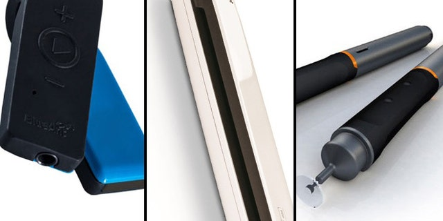 The Blue Ant Ribbon (left), NeatReceipts scanner (center) and HEX3 JaJa Stylus (right) -- great holiday gifts for the gadget lover.