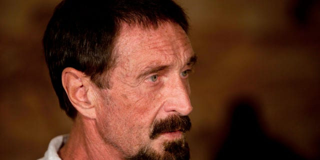 Dec. 4, 2012: In this file photo, software company founder John McAfee listens to a question during an interview at a local restaurant in Guatemala City.