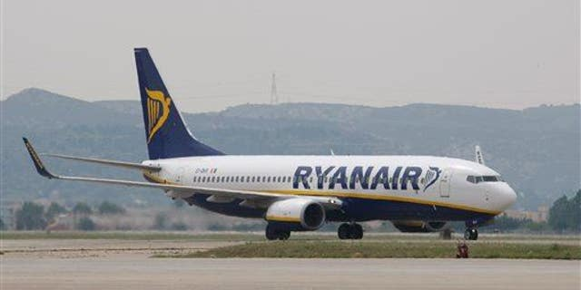 A Ryanair plane lands at the Marseille Provence airport, in Marignane, southern France.