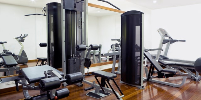 Interior of sport club with equipment