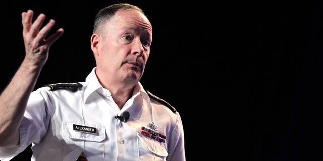 July 31, 2013: Army General Keith Alexander, head of the National Security Agency delivers a keynote address at the Black Hat hacker conference on Wednesday in Las Vegas.