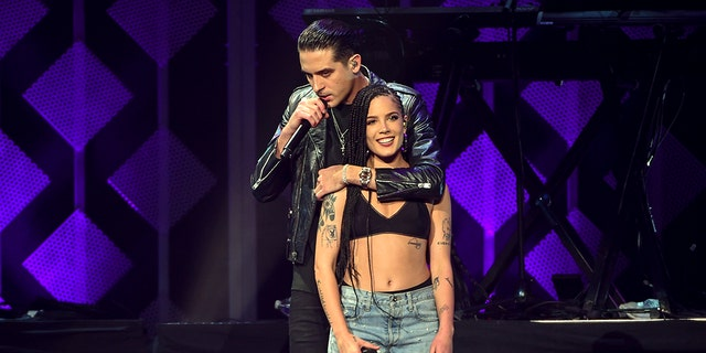 Singers Halsey, right, and G-Eazy perform together at Z100's iHeartRadio Jingle Ball at Madison Square Garden on Friday, Dec. 8, 2017, in New York. (Photo by Evan Agostini/Invision/AP)