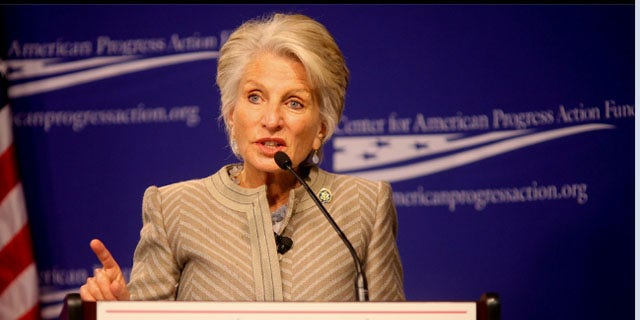 This photo, provided by www.harman.house.gov, shows longtime Calif. Rep. Jane Harman at the Center for American Progress Action Fund. Harman is making calls to members of the Democratic House leadership to notify them of her desire to leave Congress to lead the Woodrow Wilson International Center.