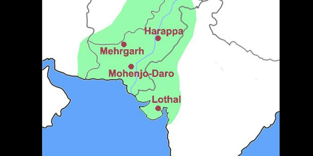 A simple map of the Indus Civilization (or Harappa civilization) with important archeological sites noted.