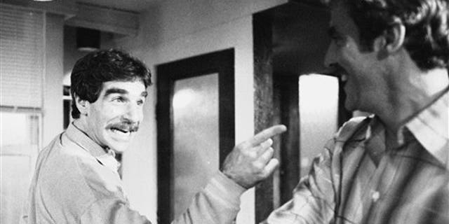 """In this Nov. 11, 1979 file photo, Harry Reems rehearses for his legitimate theater debut in an Off-Broadway comedy-drama, """"The Office Murders,"""" in New York. Reems, the former porn star who co-starred in the 1972 movie """"Deep Throat,"""" died Tuesday, March 19, 2013 in Salt Lake City."""
