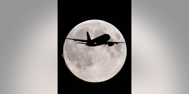 A passenger aircraft descends towards Heathrow Airport with a full moon seen behind, in west London - File Photo