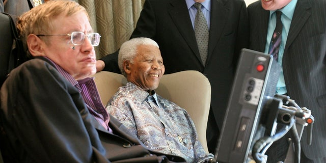 Stephen Hawking with Nelson Mandela in an undated photo.