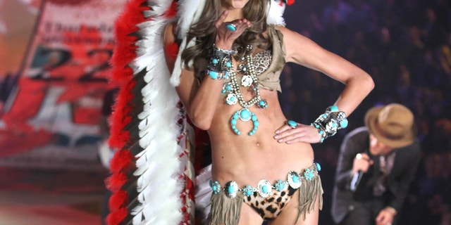 Nov. 7, 2012: Model Karlie Kloss wears an Indian headdress during the taping of The 2012 Victoria's Secret Fashion Show in New York.