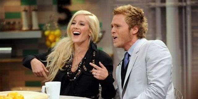"""June 15: In this image released by PictureGroup, Heidi Montag, left, and Spencer Pratt appear on set of MTV's """"It's On with Alexa Chung"""" at the MTV Times Square Studios."""