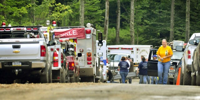 July 28, 2013: A helicopter crash in a remote, wooded area of northeastern Pennsylvania claimed the lives of five people, state police said Sunday. (AP Photo)