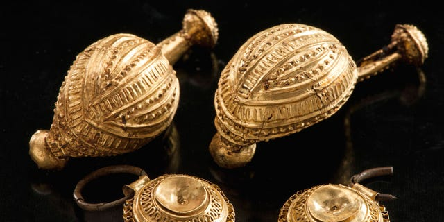 While plowing a field, a farmer in southern Germany found one of these golden brooches. It came from a young girl's grave dating to the Iron Age. (Credit: Copyright Landesamt für Denkmalpflege Baden-Württemberg/Antiquity Publications Ltd.)