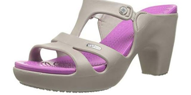 """The new """"Cyprus V"""" Crocs are a high-heeled version of the classic clog."""