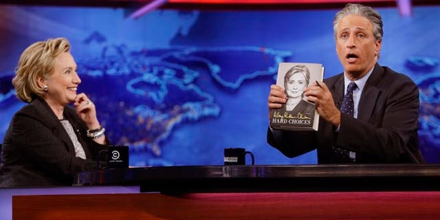"""Former U.S. Secretary of State Hillary Rodham Clinton during a taping of """"The Daily Show with Jon Stewart"""", Tuesday, July 15, 2014, in New York."""