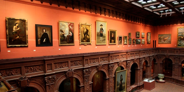 The central courtyard of the Hispanic Society of America is seen in the Washington Heights section of New York, Tuesday, Feb. 21, 2012.  (AP Photo/Seth Wenig)