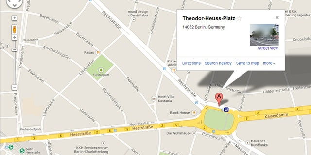 Google has apologized after a Berlin intersection accidentally regained its Nazi-era name, Adolf-Hitler-Platz, on the Google Maps service. The intersection is seen here with its corrected name, Theodor-Heuss-Platz.
