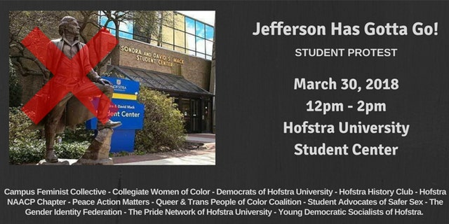 """Hofstra University student activists want to remove a statue of Thomas Jefferson because they claim he is an """"icon"""" for the KKK and white supremacists."""