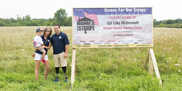 Ret. Marine Cpl. Luke McDermott's home, custom-made from Homes For Our Troops, will be completed in the summer of 2018.