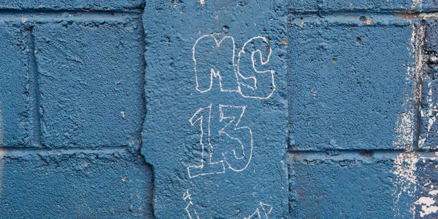 In this 2014 file photo, MS-13 gang graffiti is seen next to the door of the Jose Ramon Montoya school in Tegucigalpa, Honduras.