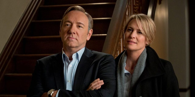 "Kevin Spacey and Robin Wright as Frank Underwood and Claire Underwood, respectively, in the Netflix show ""House of Cards."""