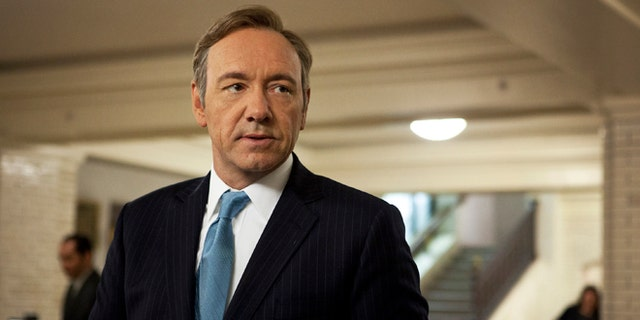 """This image released by Netflix shows Kevin Spacey as U.S. Congressman Frank Underwood in a scene from the Netflix original series, """"House of Cards. """""""