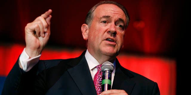 FILE - In this Thursday, July 23, 2015, file photo, GOP presidential candidate former Arkansas Gov. Mike Huckabee speaks at a campaign event in Las Vegas. (AP Photo/John Locher, File)