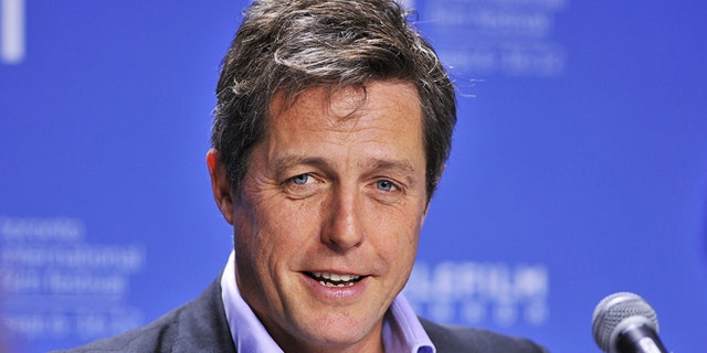 "Sept. 9, 2012: In this file photo, actor Hugh Grant speaks during the news conference for the film ""Cloud Atlas"" during the 2012 Toronto International Film Festival in Toronto."