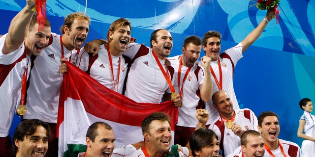 Aug. 24, 2008: In this photograph, Hungary men's water polo team pose with their gold medals after beating the USA 14-10 to win the gold at the Beijing 2008 Olympics in Beijing.