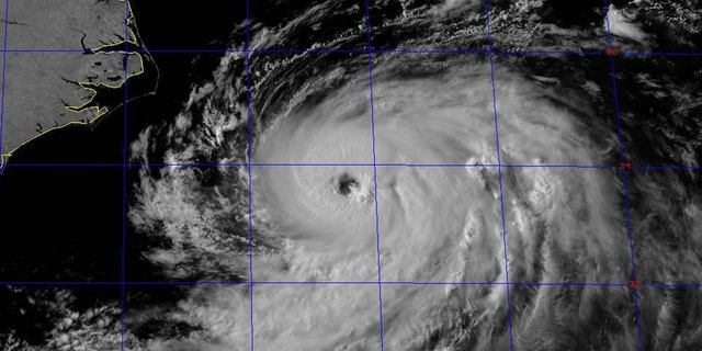 Tropical Storm Chris has reached hurricane strength while moving away from the U.S. coast in the Atlantic. (National Weather Service)
