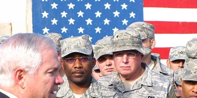 Fox News file photo, Secretary Gates with troops