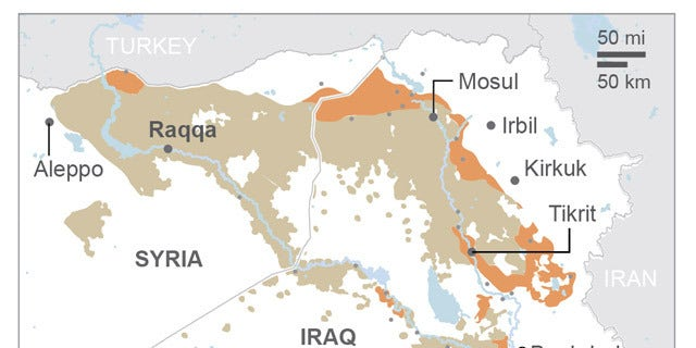 Map shows the spread of the Islamic State across.; 2c x 4 inches; 96.3 mm x 101 mm;