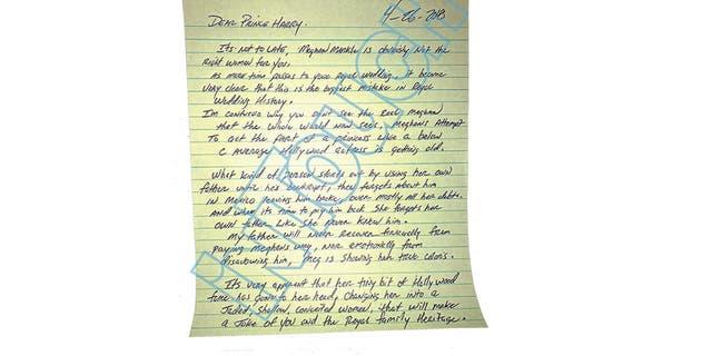 Thomas Markle Jr.'s handwritten letter to Prince Harry