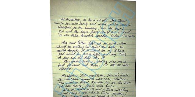Thomas Markle Jr.'s handwritten letter to Prince Harry.