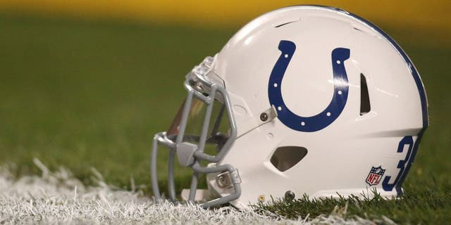 Dec 6, 2015; Pittsburgh, PA, USA; An Indianapolis Colts helmet sits on the field before the Pittsburgh Steelers host the Colts at Heinz Field. The Steelers won 45-10. Mandatory Credit: Charles LeClaire-USA TODAY Sports