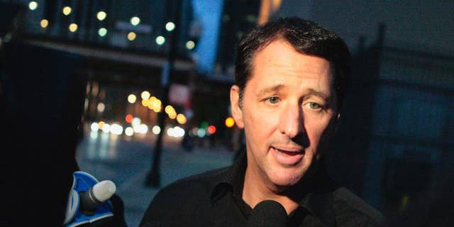 """FILE - In this Oct. 28, 2013 file photo, television infomercial pitchman Kevin Trudeau speaks to the media after leaving the Metropolitan Correctional Center in downtown Chicago. On Monday, March 17, 2014, a federal judge in Chicago is scheduled to sentence Trudeau for bilking consumers through his infomercials. In November 2013, jurors convicted Trudeau for defying a court order barring him from running infomercials that made false claims about his book, """"The Weight Loss Cure They Don't Want You to Know About."""" (AP Photo/Sun-Times Media, Michael Jarecki) MANDATORY CREDIT, MAGS OUT, NO SALES"""