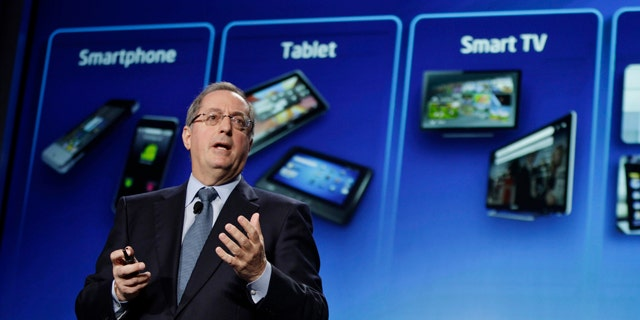 May 17, 2011: Intel CEO Paul Otellini talks about tablet, smartphone and smart TV devices using Intel chips during Intel's Investor Meeting at Intel headquarters in Santa Clara, Calif.