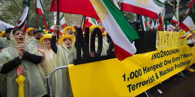 Rallies like this one, by an Iranian opposition group outside UN headquarters, are a magnet for spies.