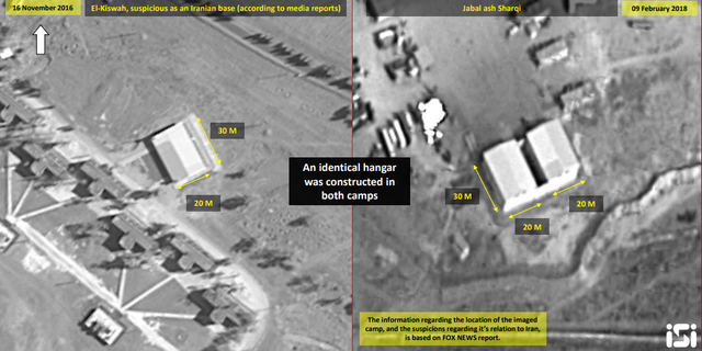 The satellite images show two new white hangars, each roughly 30 yards by 20 yards, used to store short- and medium-range missiles eight miles northwest of Damascus in Syria.