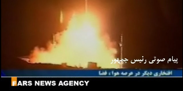 This still from a video by the Fars News Agency posted to the Omid satellite Web site shows the Safir-2 rocket launch in February 2009.
