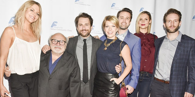 """It's Always Sunny in Philadelphia"" cast, from left, Kaitlin Olson, Danny DeVito, Charlie Day, Mary Elizabeth Ellis, Rob McElhenney, and Glenn Howerton attend Saban Community Clinic's 40th Annual Dinner Gala at The Beverly Hilton Hotel on November 14, 2016 in Beverly Hills, California."