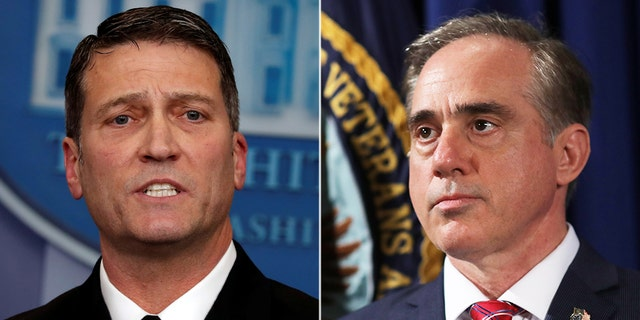 David Shulkin, right, will be replaced as VA secretary by Dr. Ronny Jackson.