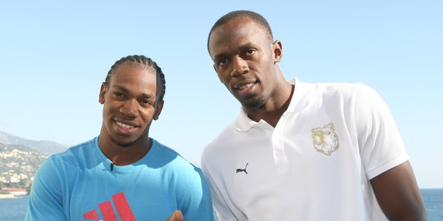 Nov. 12, 2011: This  file photo shows Jamaican sprinters Usain Bolt, right, and Yohan Blake, posed at a news conference in Monaco.