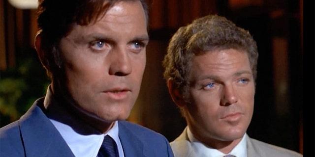 "James MacArthur (right) filming ""Hawaii Five-O."""
