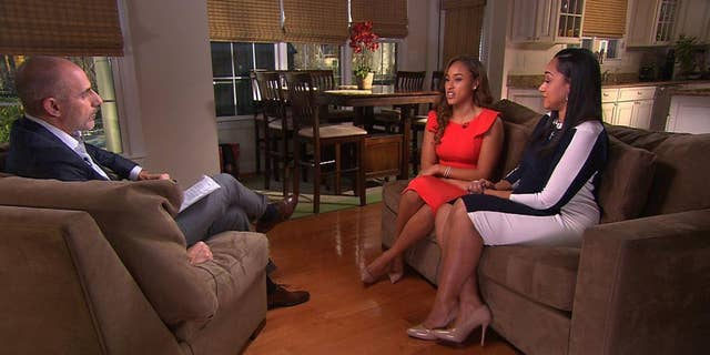 """In this image from video provided by The Today Show, host Matt Lauer, left, interviews Janay Rice, center, and her mother, Candy Palmer. Janay Rice says NFL Commissioner Roger Goodell wasn't being honest when he said Ray Rice was """"ambiguous"""" about hitting her in a casino elevator. (AP Photo/The Today Show)"""