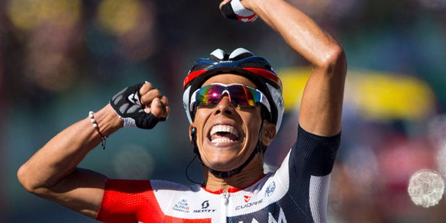 Colombiaâs Jarlinson Pantano crosses the finish line to win the fifteenth stage of the Tour de France cycling race over 160 kilometers (99.4 miles) with start in Bourg-en-Bresse and finish in Culoz, France, Sunday, July 17, 2016. (AP Photo/Peter Dejong)