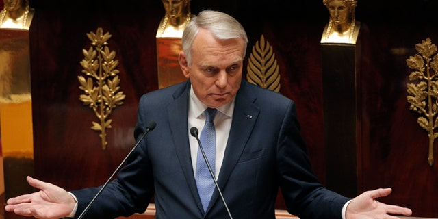 Sept. 4, 2013: France's Prime Minister Jean Marc Ayrault delivers a speech at the National Assembly in Paris. Ayrault addressed parliament during a debate to rally support for a military strike again Syria. The U.S. and France accuse Assad's Syrian government of using chemical weapons in an Aug. 21 attack on rebel-held suburbs of Damascus that killed hundreds.