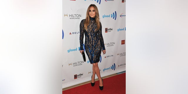 April 12, 2014. Jennifer Lopez arrives at the 25th Annual GLAAD Media Awards in Los Angeles.