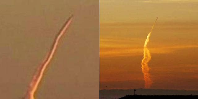 A mysterious vapor trail caught on camera has the military scrambling for answers -- but is it just a jet? On the left, a still image from KCBS video of the launch. On the right, a very similar event from Dec. 31, 2009 commonly believed to be an airplane.