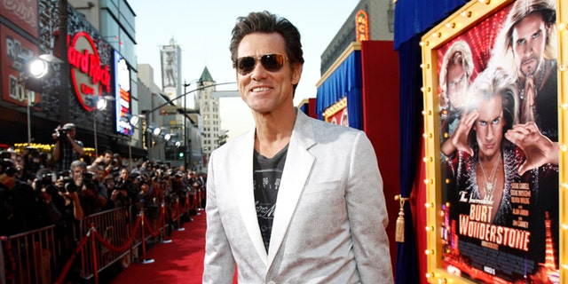 """Cast member Jim Carrey attends the premiere of """"The Incredible Burt Wonderstone"""" in Hollywood, California March 11, 2013."""