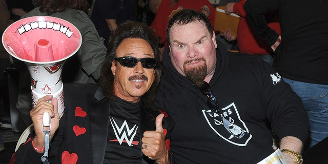 "NEW YORK, NY - MARCH 04:  Hall of Fame members Jimmy Hart and Jim ""The Anvil"" Neidhart attends the ""Big Event"" at the LaGuardia Plaza Hotel on March 4, 2017 in New York City.  Photo by: George Napolitano/ MediaPunch/IPX"